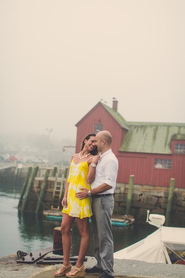 Foggy Sunrise Engagement Session on a Massachusetts Harbor