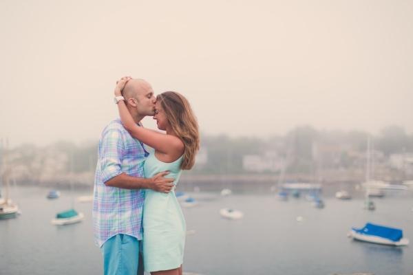 Massachusetts Harbor Foggy Sunrise Engagement Shoot