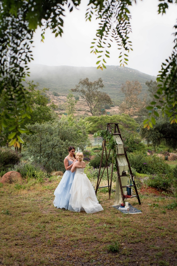 Ladder wedding decor with two brides