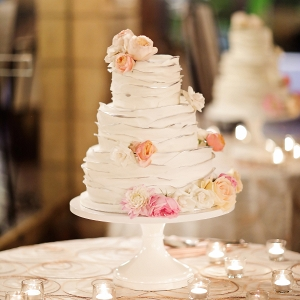 Ruffled Wedding Cake with Roses
