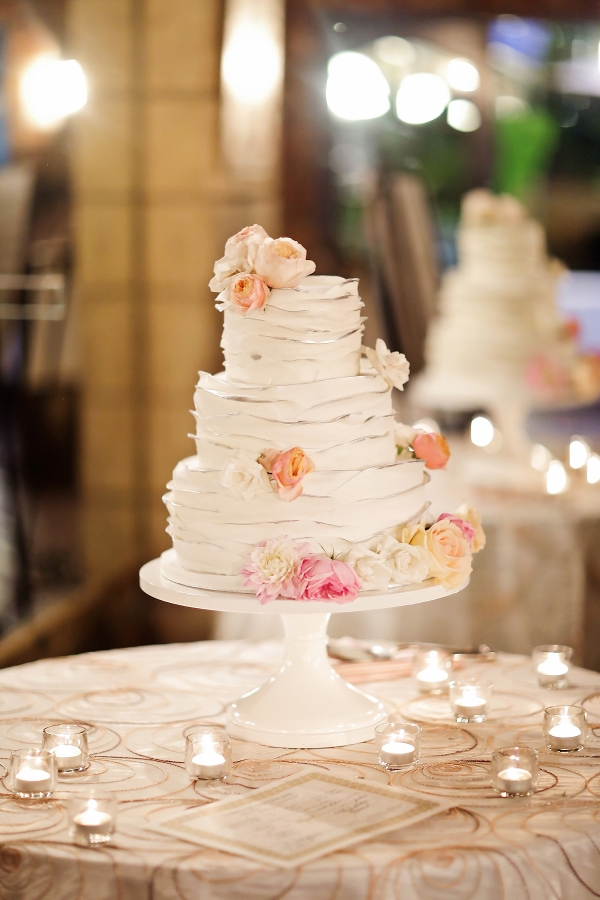 Ruffled Wedding Cake with Roses