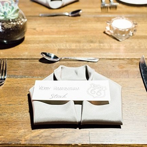 Folded napkin place setting