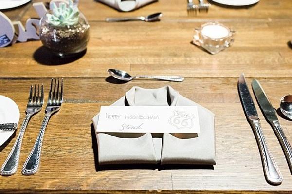Folded napkin place setting