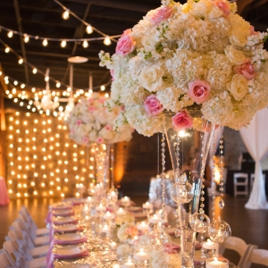 Glam table setting with sequined tablecloth