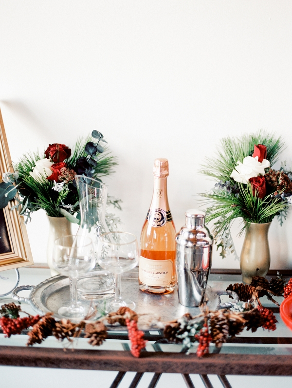 Christmas Wedding Bar Cart Decor Inspiration