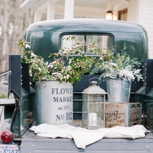 Vintage Truck Wedding Decor with Galvanized Buckets