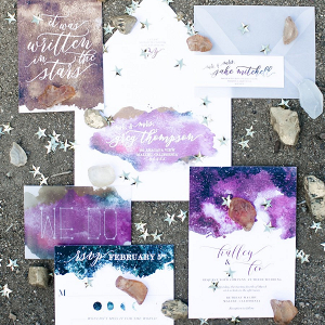 Celestial wedding invitation suite