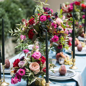 Magenta, blue, and black tablescape