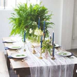 Navy and Green Tablescape with Lace Runner