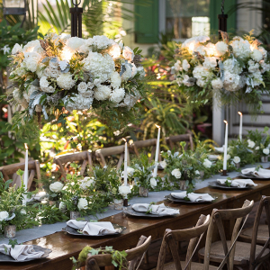Elegant green and white tablescape