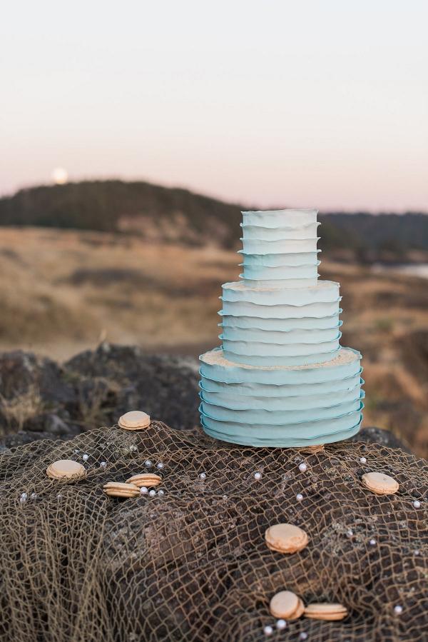 Ombre Blue Wedding Cake