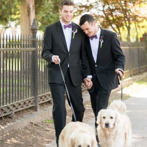 Two Grooms with Golden Retrievers