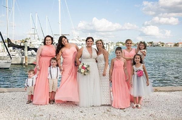Coral bridal party