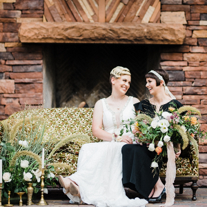 Brides on vintage couch