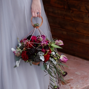 Unconventional Bridal Bouquet and Purple Wedding Dress