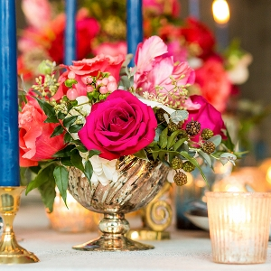 Pink and Navy Tablescape