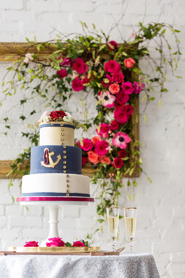 Nautical Wedding Cake with Floral Frame