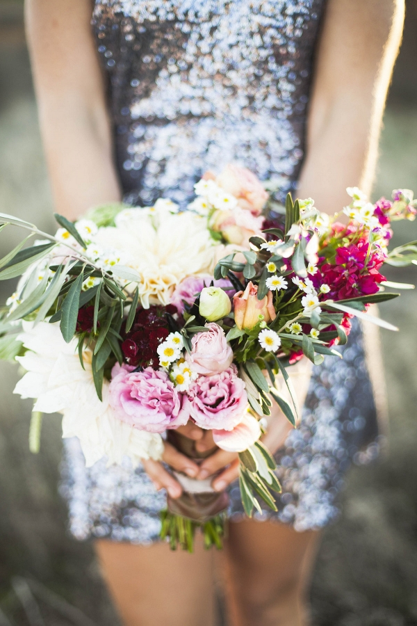 Sequin Bridesmaid Dress with Bouquet