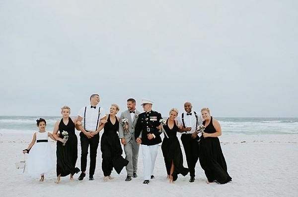 Black and White Beach Wedding - Aisle Society