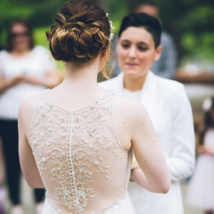 Illusion back wedding dress with beaded detailing