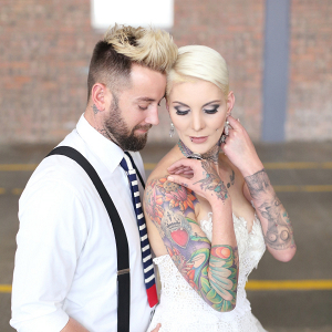 Tattooed bride and groom