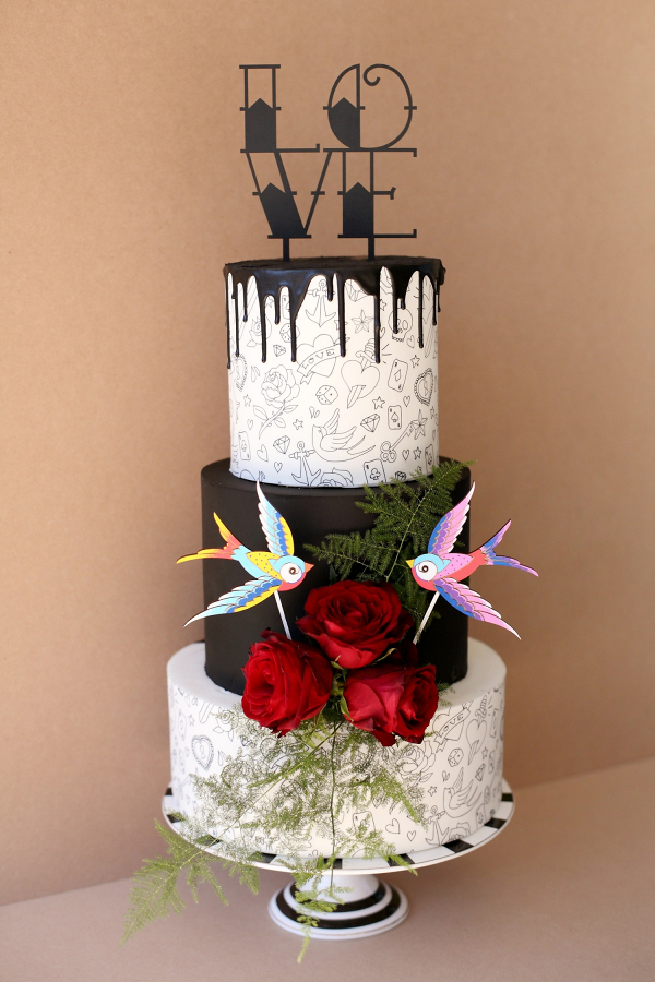 tattoo wedding cake and blue wedding inspiration aisle society 20764