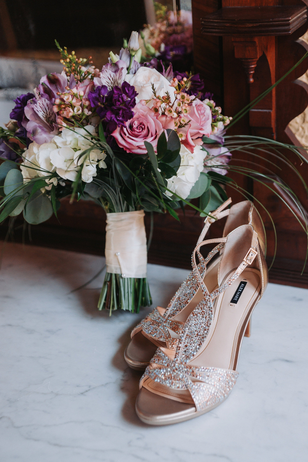 Bouquet and gold heels