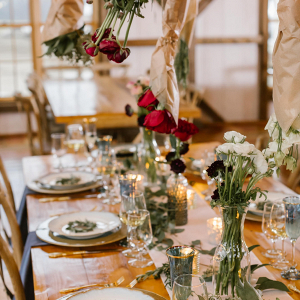 Tablescape with hanging florals