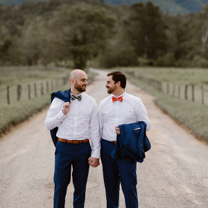 Grooms in field