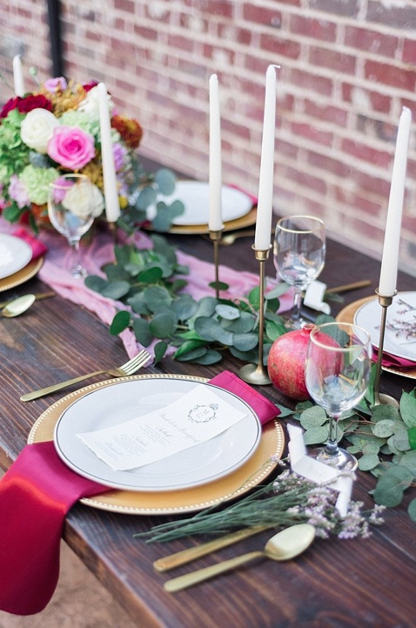 Romantic pink and gold tablescape