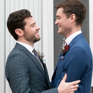 Two Grooms from a Trendy Geometric and Marble Inspiration Shoot