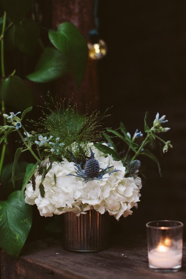 Blue Thistle and White Hydrangea Wedding Centerpiece