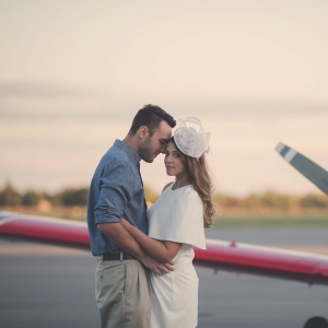 Vintage Airplane Hangar Engagement Shoot