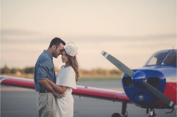Vintage Airplane Hangar Engagement Shoot