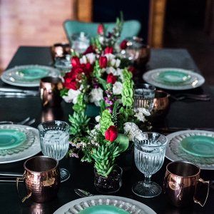 Mint and red tablescape