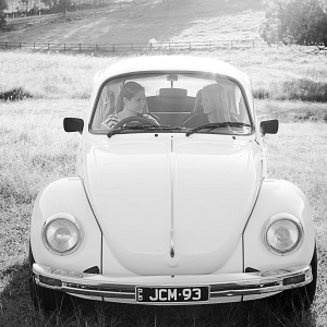 Black and White Engagement Photography with Vintage Car