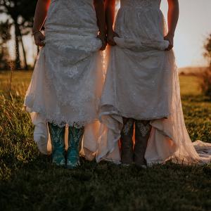 Brides in cowboy boots