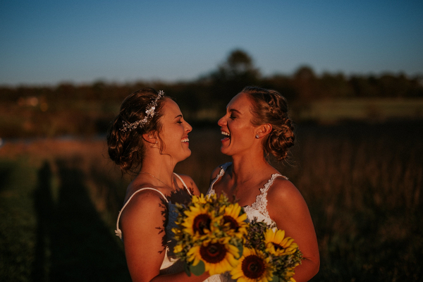 Brides at sunset