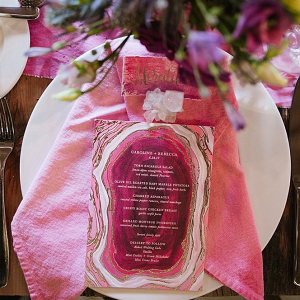 Geode wedding menu