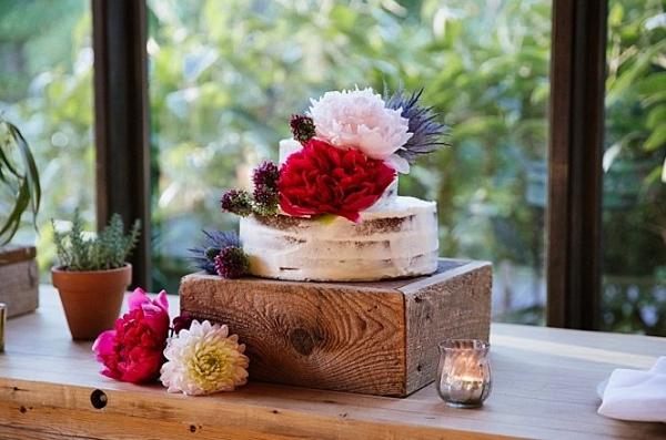 Small semi naked wedding cake
