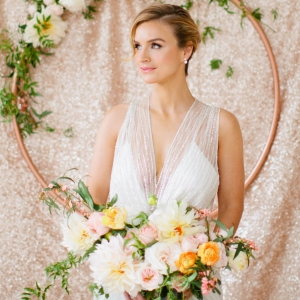 Jenny Packham Bride in Front of Sequined Backdrop