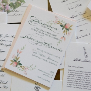 Romantic Blush Pink and White Floral Wedding Invitations