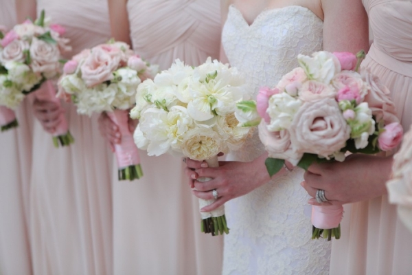 White and Blush Pink Wedding Bridal Party Bouquets with Blush Monique Lhulillier Bridesmaids Dresses from Bella Bridesmaid
