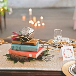 Wedding Reception Table Decor with Flower Drawn Table Number, Candles, and Gold Accent Centerpieces | Bohemian/Boho Styled Wedding Shoot