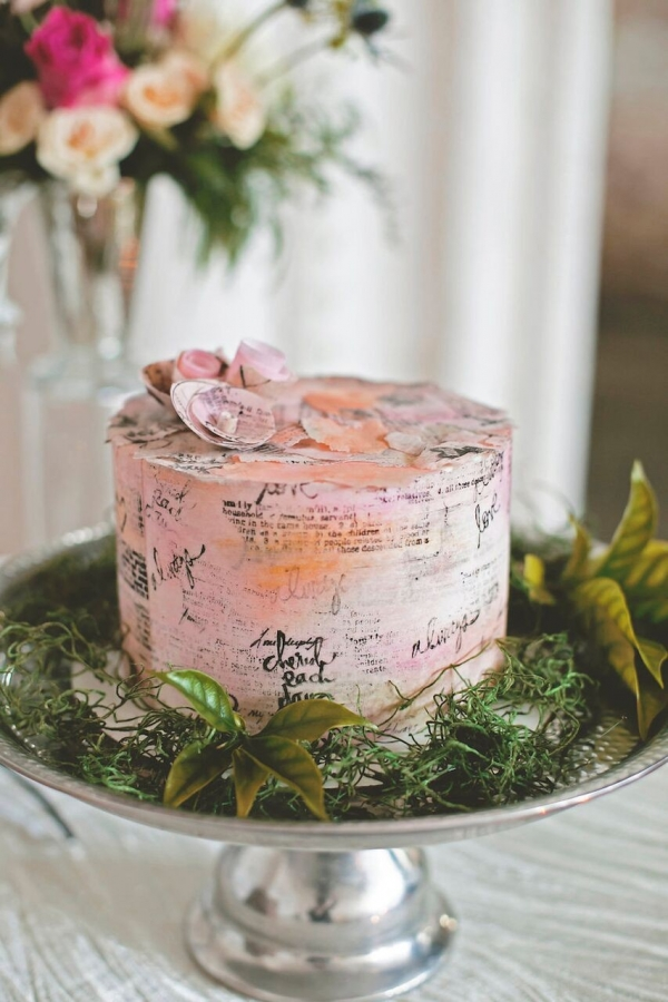 Small, Blush Wedding Cake with Writing and Small Floral Details | Bohemian/Boho Styled Wedding Shoot