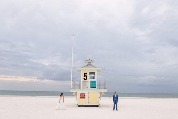 Clearwater Beach Wedding Bride and Groom Portrait with Lifeguard Tower