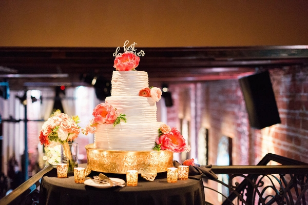 Modern Black, Gold and Coral Nighttime Wedding - Aisle Society