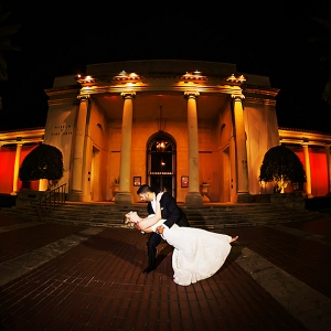 Nighttime Outdoor Wedding Portrait of Bride and Groom at Museum of Fine Arts in St. Petersburg, Florida