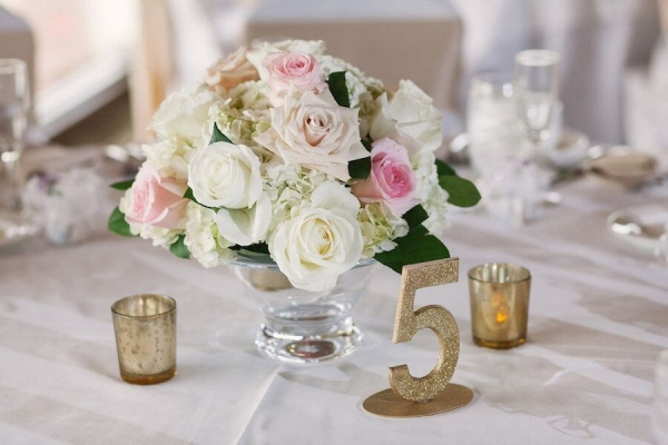 Gold Glitter Wedding Table Numbers with Rose and Hydrangea Centerpieces