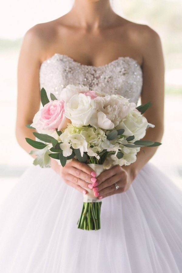 Embroidered Strapless White Ball Gown Wedding Dress with Pastel Bouquet with Greenery